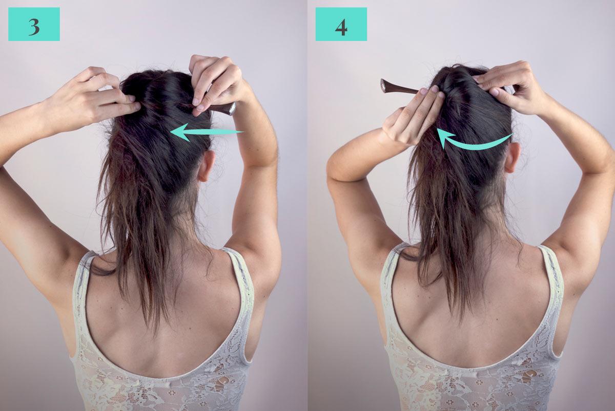 Tutorial cola de caballo con palo para el cabello. Paso 3 y 4